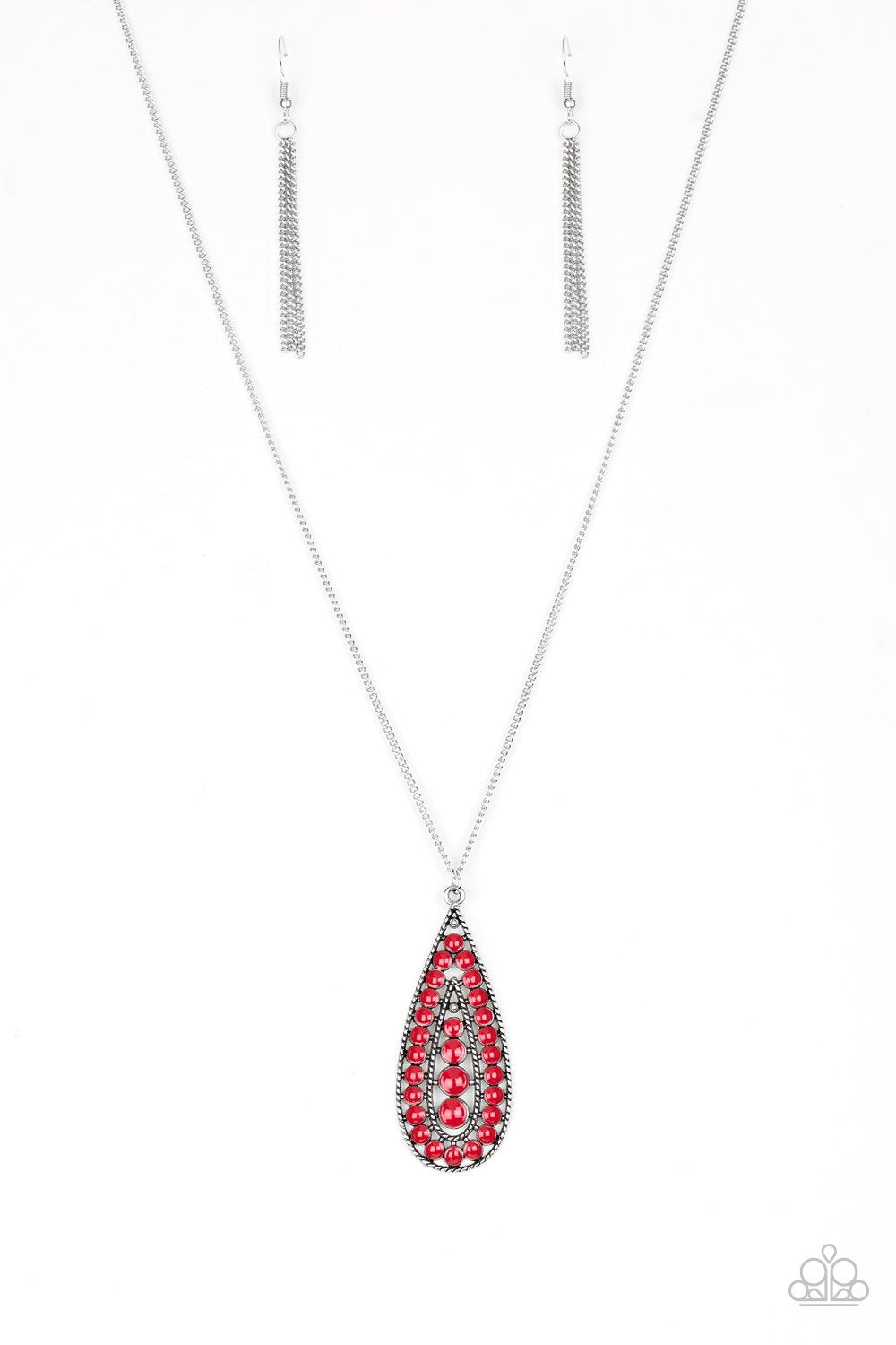 Tiki Tease - Red Pendant Necklace - The Paparazzi Fox