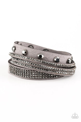 Totally Rockable - Silver Grey Suede Wrap and Snap Bracelet - The Paparazzi Fox