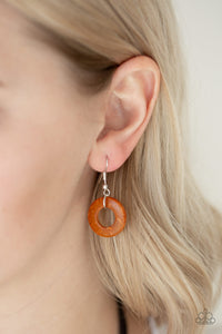 Wonderfully Waalla Walla - Orange Wooden Necklace Earrings- The Paparazzi Fox