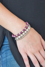Load image into Gallery viewer, Girly Girl Glamour - Purple Silver Stretch Bracelet - The Paparazzi Fox