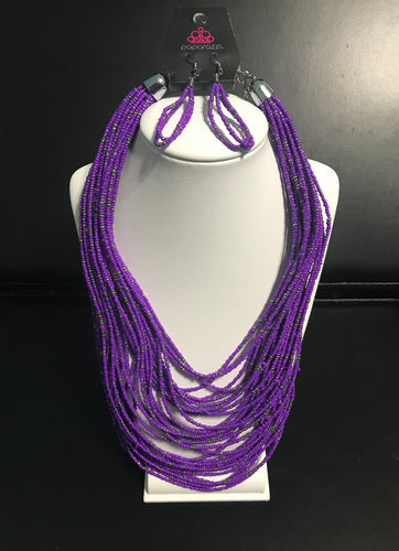 Rio Rainforest - Purple Seed Bead Necklace - The Paparazzi Fox