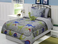 Comforter Grey Dinosaur Bedding Set