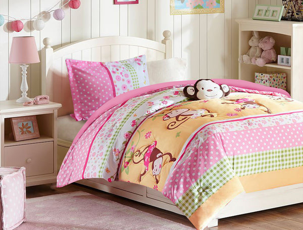 Pink Monkey Bedding Set - Twin Comfort