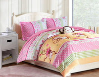 Pink Monkey Bedding Set - Full Comfort