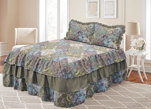 Printed Bedspread Set with Attached Ruffle Ahf-300-4197 - Queen, Ahf-300-4197