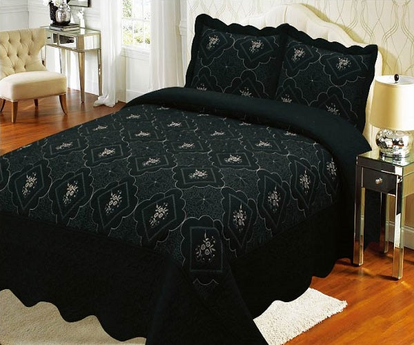 Bedspread Embroidery 3Pcs AK073 (Solid) - Black, Calking