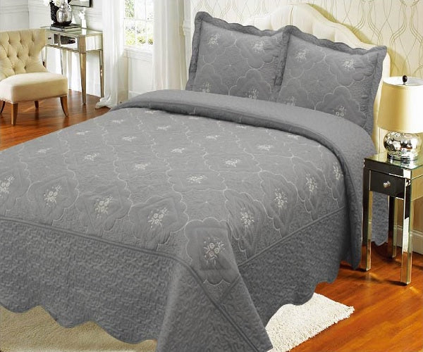 Bedspread Embroidery 3Pcs AK073 (Solid) - Grey, King