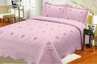 Bedspread Embroidery 3Pcs AK073 (Solid) - Lt Purple, King