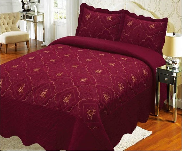 Bedspread Embroidery 3Pcs AK073 (Solid) - Magenta, Calking