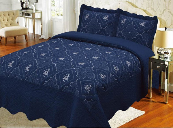 Bedspread Embroidery 3Pcs AK073 (Solid) - Navy, Queen