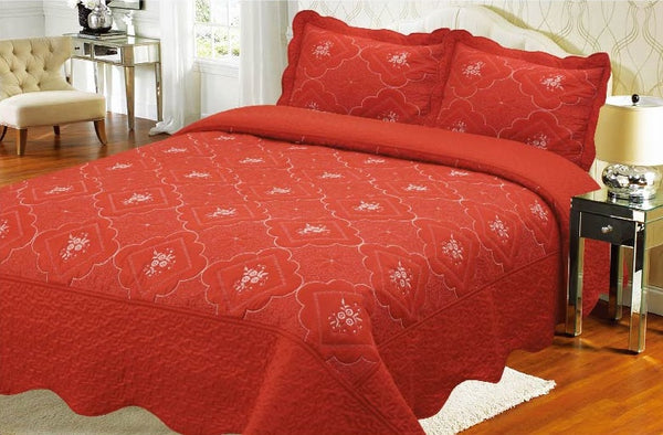 Bedspread Embroidery 3Pcs AK073 (Solid) - Orange, Queen