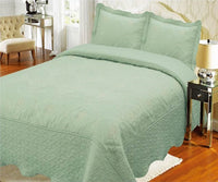 Bedspread Embroidery 3Pcs AK073 (Solid) - Sage, Calking