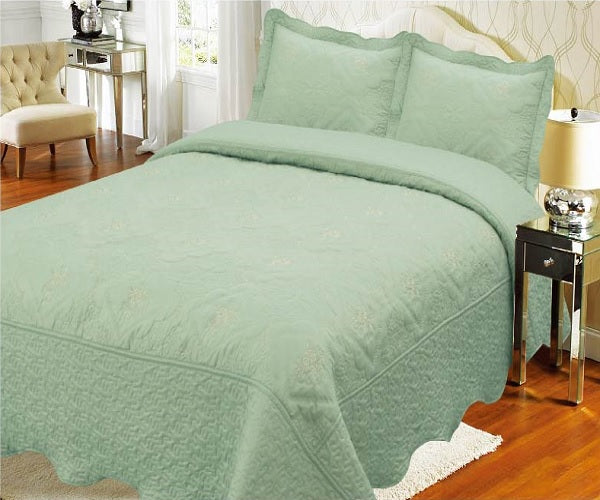 Bedspread Embroidery 3Pcs AK073 (Solid) - Sage, Twin