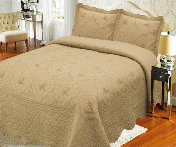 Bedspread Embroidery 3Pcs AK073 (Solid) - Taupe, Queen