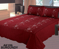 Bedspread Embroidery 3Pcs AK-106 - Burgandy, Twin