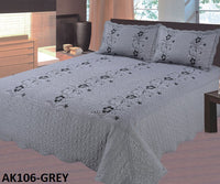 Bedspread Embroidery 3Pcs AK-106 - Grey, King