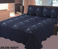 Bedspread Embroidery 3Pcs AK-106 - Navy, King