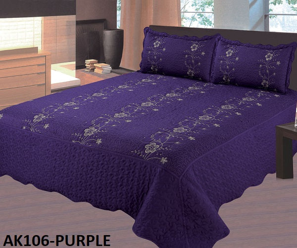 Bedspread Embroidery 3Pcs AK-106 - Purple, King