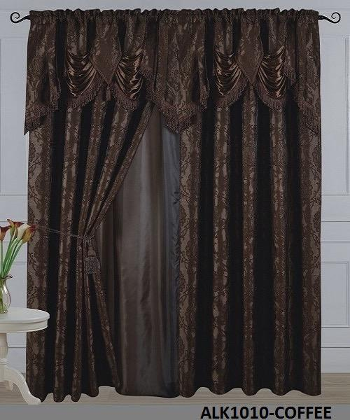 2Panels Jacquard With Taffeta Alk1010 - Coffee