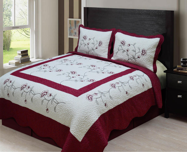 3-PCS EMBRODIRED BEDSPREAD