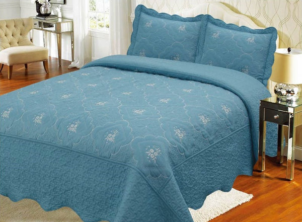 Bedspread Embroidery 3Pcs AK073 (Solid) - Lt Blue, King