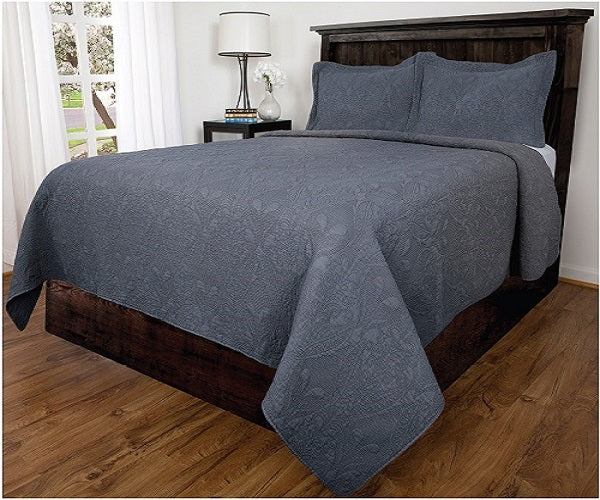 Bedspread 3Pcs Set Lowell - Queen, Denim