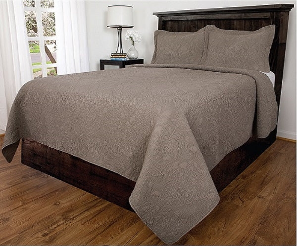 Bedspread 3Pcs Set Lowell - Queen, Taupe