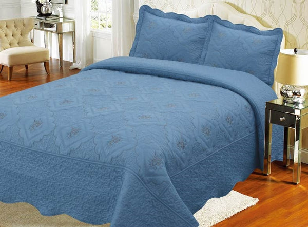 Bedspread Embroidery 3Pcs AK073 (Solid) - Royal Blue, Twin