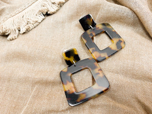 Tortoise Square Earrings