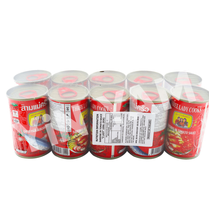 Three Lady Cooks Sardine in Tomato Sauce 155g-Pack of 10 - Yin Yam - Asian Grocery