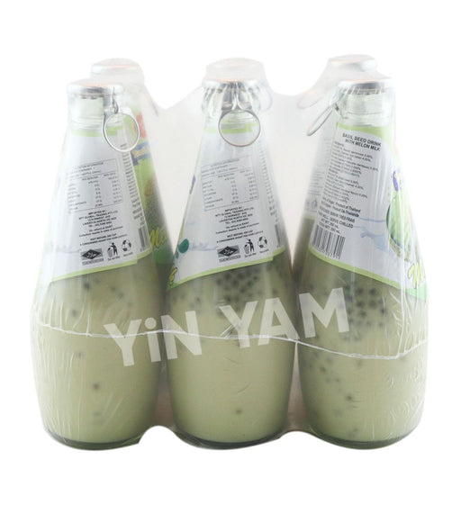 California Fresh Basil Seed Drink MELON MILK 290ml-Pack of 6 - Yin Yam - Asian Grocery