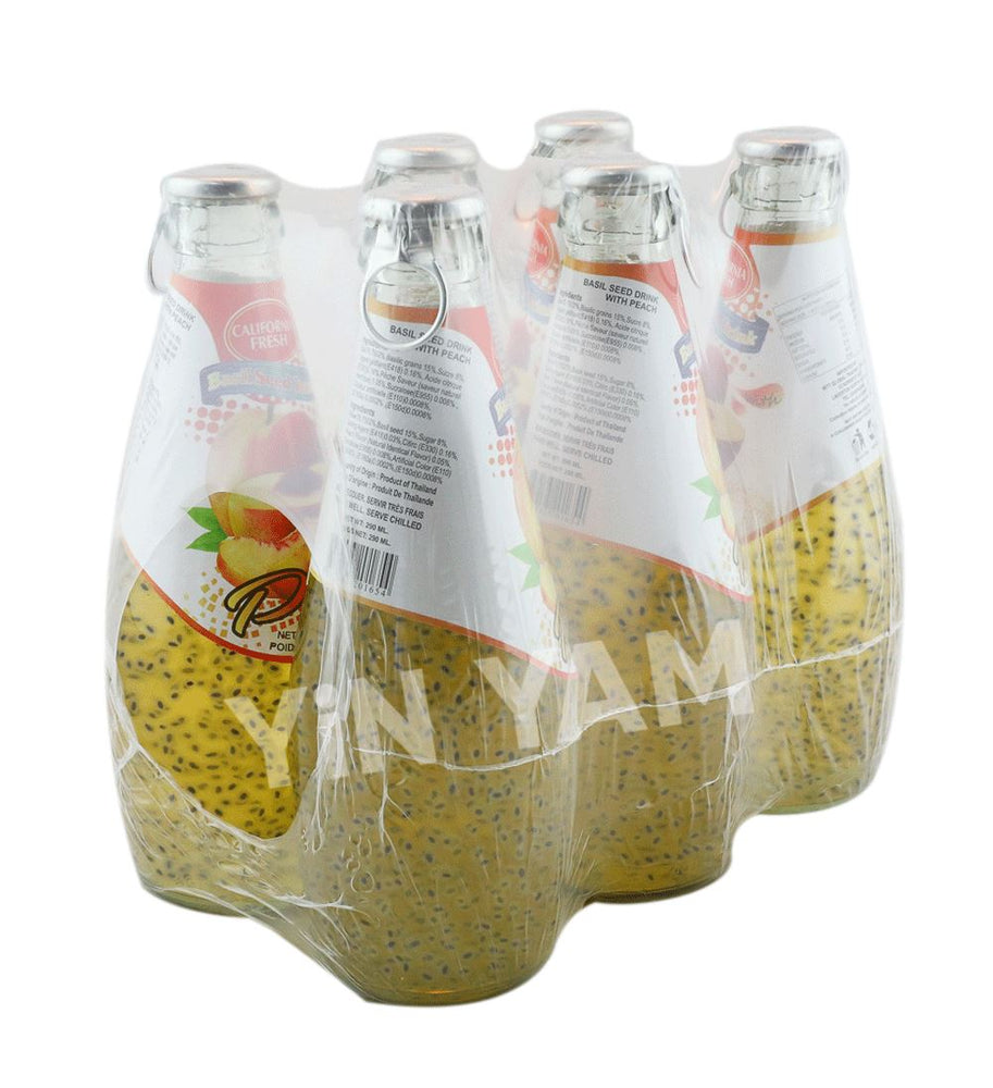 California Fresh Basil Seed Drink PEACH 290ml-Pack of 6 - Yin Yam - Asian Grocery