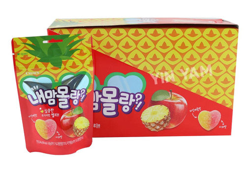 Crown Fruit Jelly Soft Gummy Apple & Pineapple Flavour 49g-Pack of 8 - Yin Yam - Asian Grocery