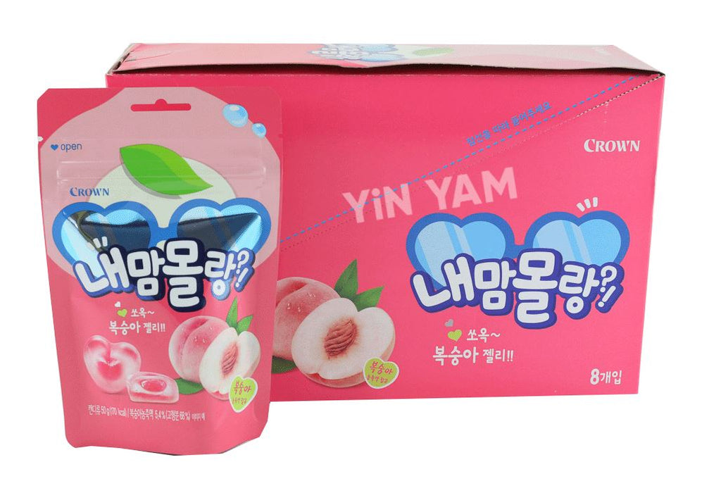Crown Fruit Jelly Soft Gummy Peach Flavour 50g-Pack of 8 - Yin Yam - Asian Grocery