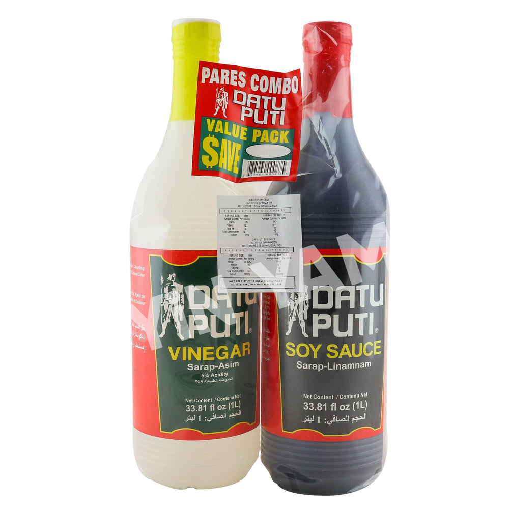Datu Puti Vinegar and Soy Sauce 1L pack of 2 - Yin Yam - Asian Grocery