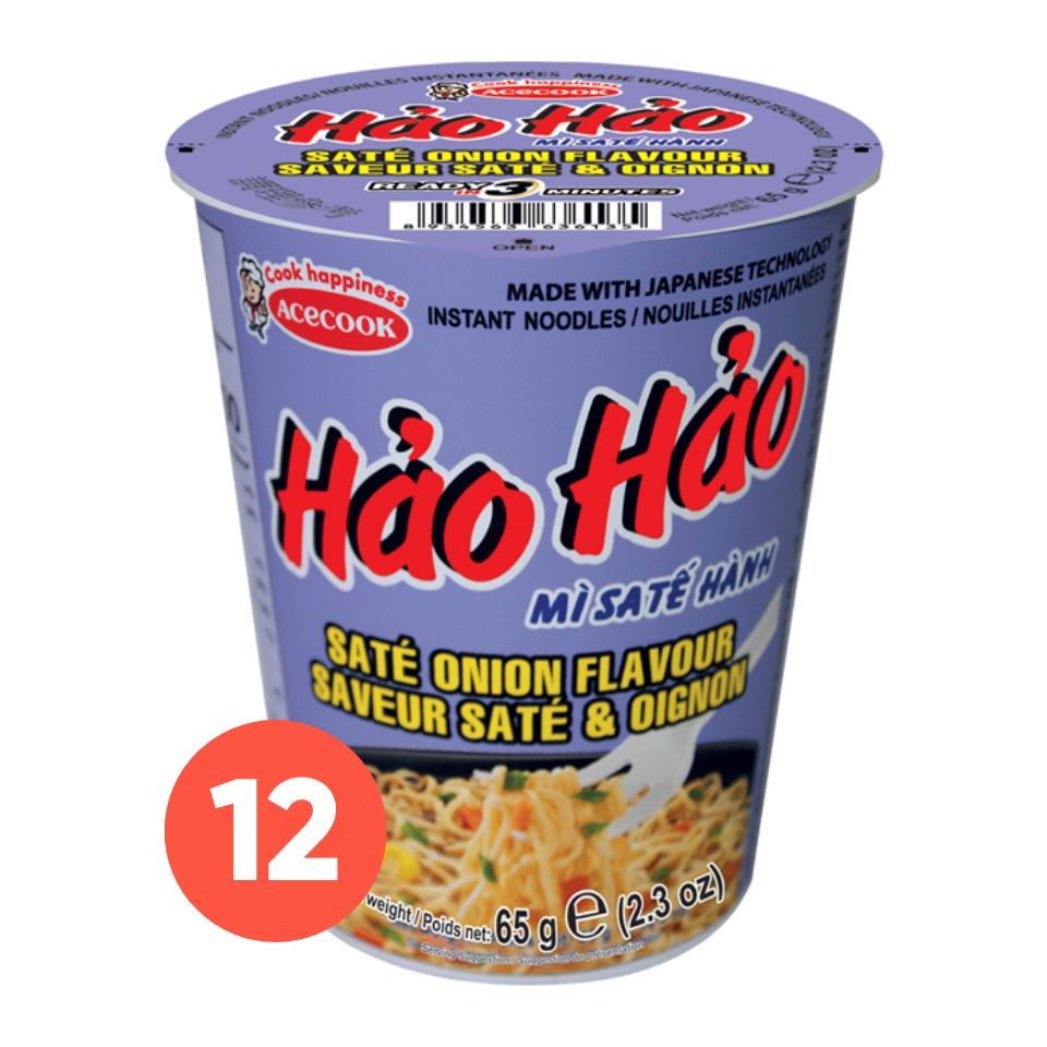 Acecook Mi Sa Te Hanh Hao Hao CUP Sate Onion Flavour Instant Noodles 69g-Carton x 12 - Yin Yam - Asian Grocery