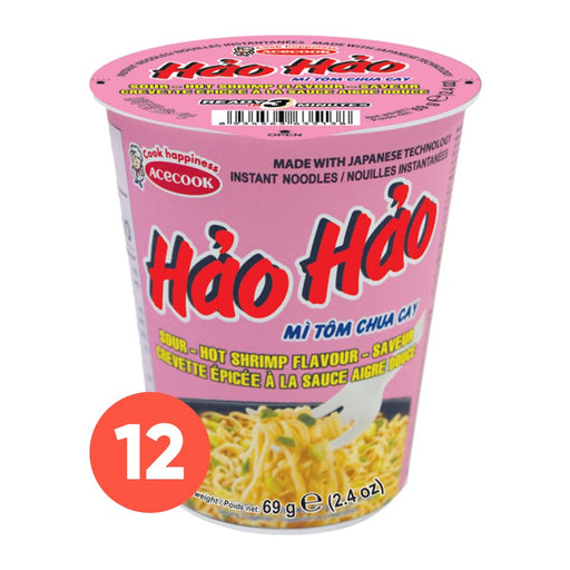 Acecook Mi Tom Chua Cay Hao Hao CUP Sour Hot Shrimp Flavour Instant Noodles 69g-Carton x 12 - Yin Yam - Asian Grocery
