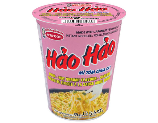 Acecook Mi Tom Chua Cay Hao Hao CUP Sour Hot Shrimp Flavour Instant Noodles 69g - Yin Yam - Asian Grocery