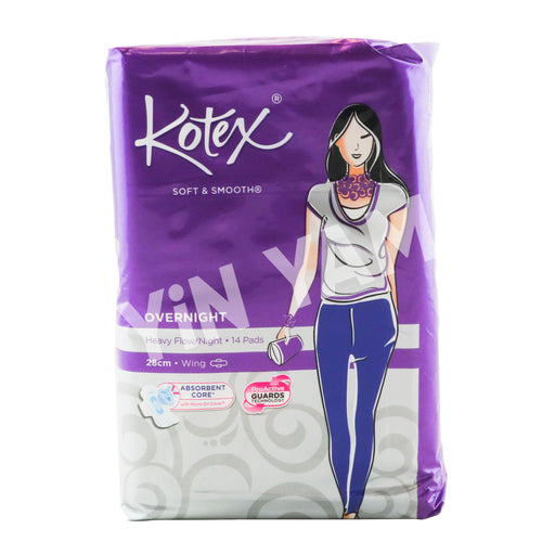 Kotex Soft & Smooth Overnight Wing (PURPLE) 28cm 14pack - Yin Yam - Asian Grocery