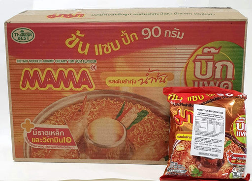 Mama Instant Noodles CREAMY TOM YUM SHRIMP 90g-Pack of 24 - Yin Yam - Asian Grocery