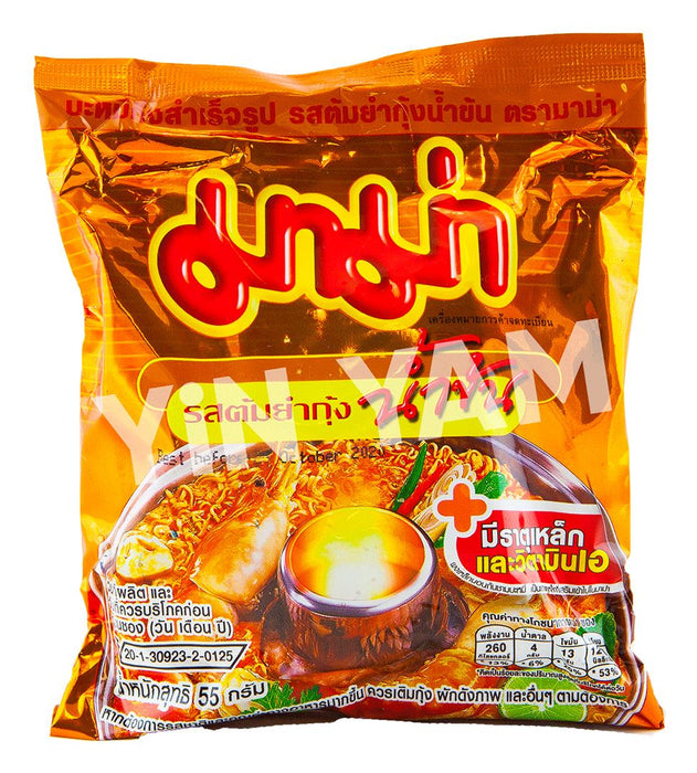 Mama Instant Noodles CREAMY TOM YUM SHRIMP 55g-Pack of 30 - Yin Yam - Asian Grocery