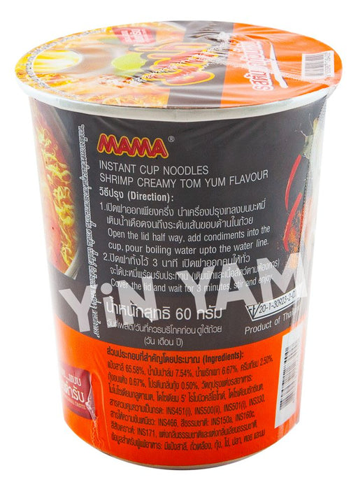 Mama Instant Noodles Cup CREAMY TOM YUM SHRIMP 60g - Yin Yam - Asian Grocery