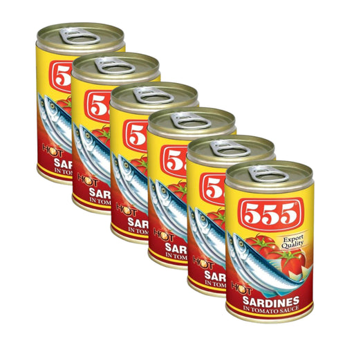 555 Sardines in Tomato Sauce (HOT CHILLI) SMALL 155g -Pack of 6