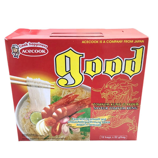 Acecook GOOD Mien Lau Thai Instant Vermicelli Tomyum Kung 61g-Pack of 12