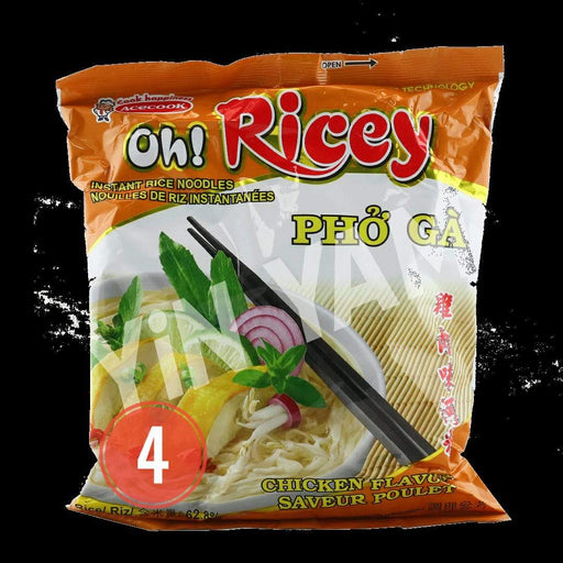Acecook Oh Ricey PHO GA Chicken Flavour Instant Noodles (70g x 4 PACK) - Yin Yam - Asian Grocery