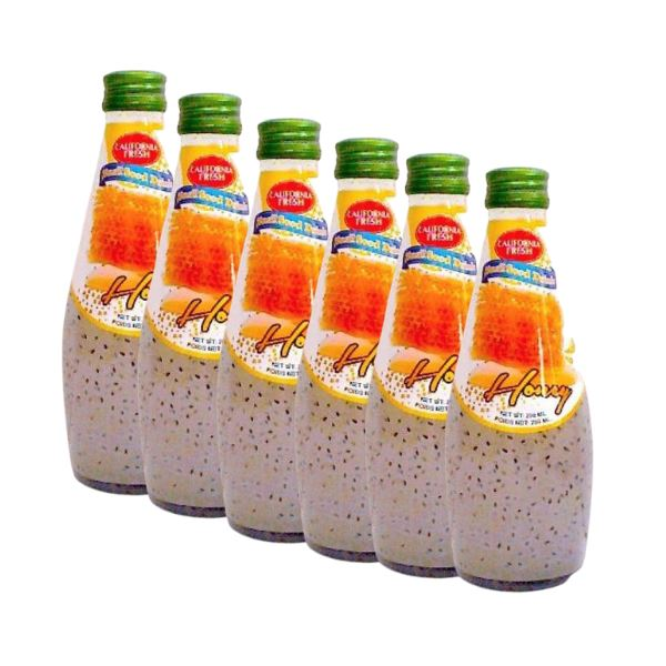 California Fresh Basil Seed Drink HONEY 290ml-Pack of 6
