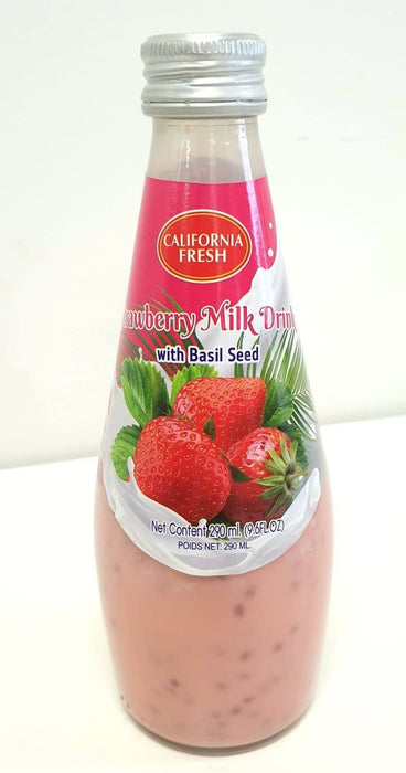 California Fresh Basil Seed Drink Strawberry Milk 290ml - Yin Yam - Asian Grocery