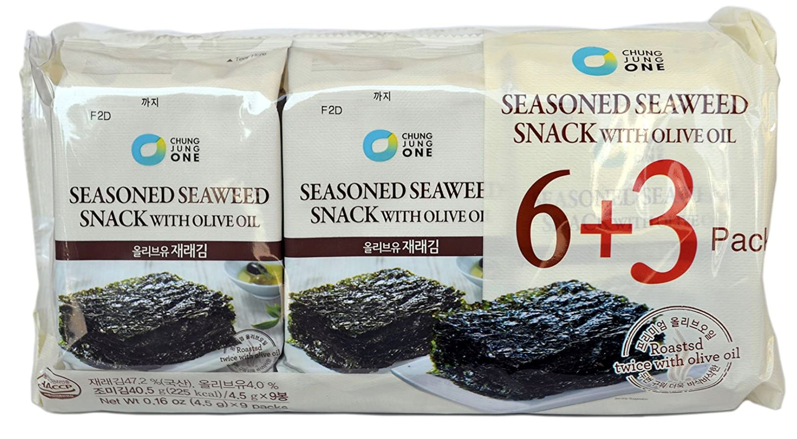 Chung Jung One Seasoned Seaweed 5g x 9pack Chips & Snack Chung Jung One