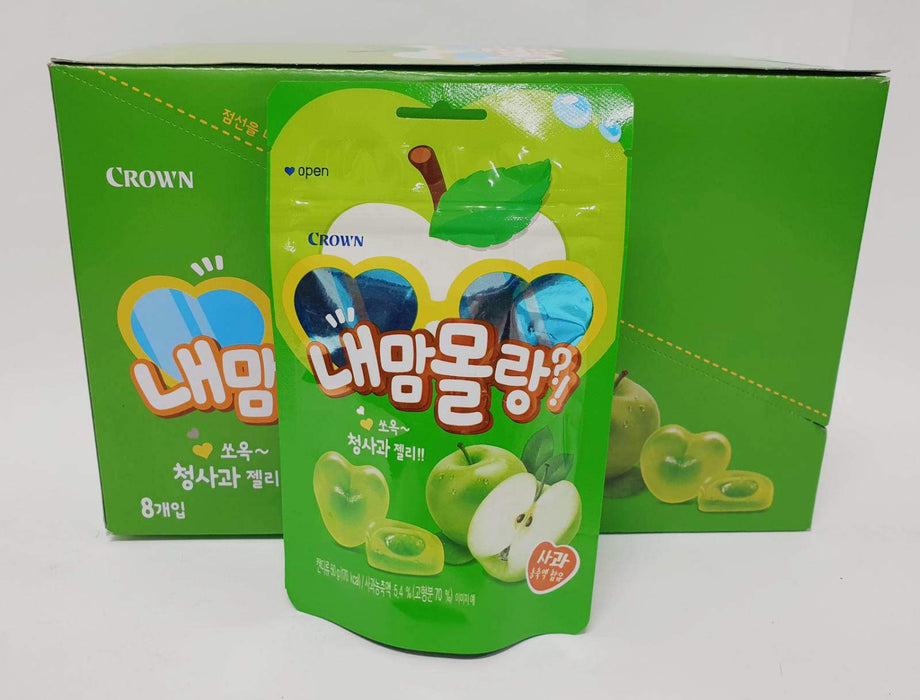Crown Fruit Jelly Soft Gummy Green Apple Flavour 50g-Pack of 8 Confectionery Crown