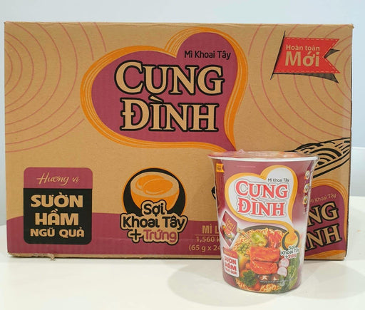 Cung Dinh Instant Noodles Stewed Sparerib with five fruits Flv (CUP) MI KHOAI TAY SUON HAM NGU QUA 65g-Carton x 24